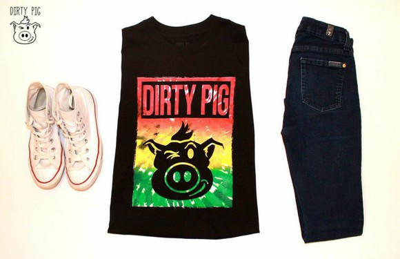 t-shirt high top sneakers sleeveless tank janoskians shop dirty pig shop dirty pig outfit dark jeans casual style high top converse black tank top