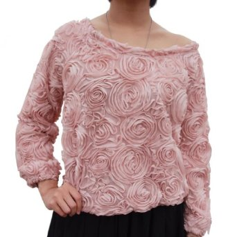 Amazon.com: LookbookStore Women's 3D Mesh Lace Rose Floral Long Sleeve Jumper Top Sweater: Clothing