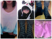 sweater,kawaii,pastel,pastel goth,panda,boots,shorts,jumper,dip dyed,grunge,soft grunge,scene,emo,cyte,pastel pink,shirt,shoes