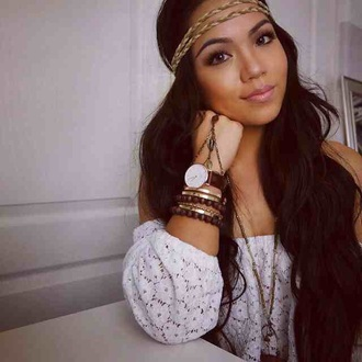 jewels headband white blouse