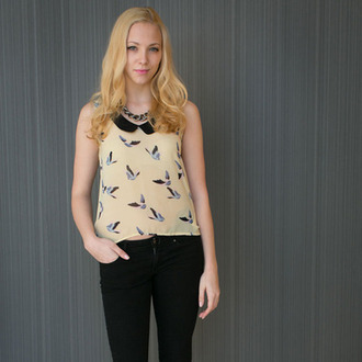 blouse the alchemy shop asos tops undefined top doves zara asos girly birds birds top love birds birds shirt off-white sleeveless vanilla dove summer summer outfits summer top spring outfits spring spring top trendy collar long sleeves