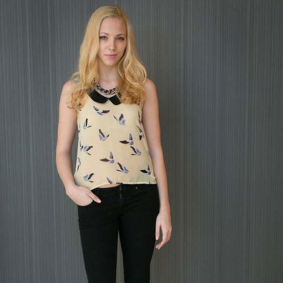 birds top birds shirt blouse birds the alchemy shop asos tops undefined top doves zara asos girly love birds blouse, bird, blue, collar, longsleeve off-white sleeveless vanilla dove summer outfits summer top spring fashion spring spring trends 2014 spring 2014 spring top trendy