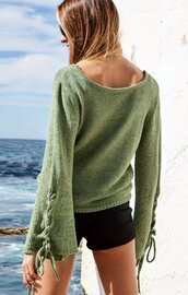 sweater,green,army green,blue,denim blue,black,lace up,bell sleeves,lace up jumper,loose,comfy,cozy,winter outfits,fall sweater,fall outfits,casual,women casul,green sweater,blue sweater,grey sweater,Knitted pullover,jeans top,moraki,grey,lace up sleeves,loose fit sweater,oversized sweater,oversized,fall colors,holiday season,knitwear,knit,knitted sweater,girly,girl,girly wishlist,style,stylish,style me,streetstyle,streetwear,street,tumblr,tumblr girl,tumblr top,fashion