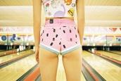shorts,watermelon print,pink,summer,top,High waisted shorts,pink shorts,watermelon shorts,pastel goth,pastel pink,hipster,tumblr,bowling,Dinosaur print,dinosaur,childish,thrift