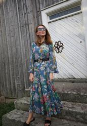 dress,floral dress,maxi dress,side split,slide shoes,belt,sunglasses