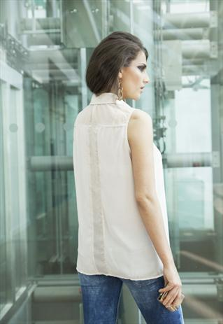 Cream Sleeveless Gold Shimmer Panel Shirt / Blouse | Yan Neo London Boutique | ASOS Marketplace