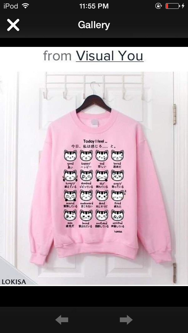 sweater pink cats