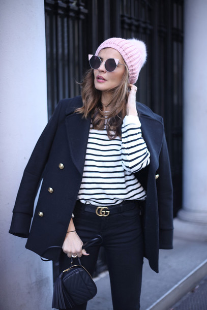 jacket black jacket beanie pink pink beanie sunglasses cat eye top stripes striped top pants black pants gucci gucci bag logo belt bag mini bag black bag tassel