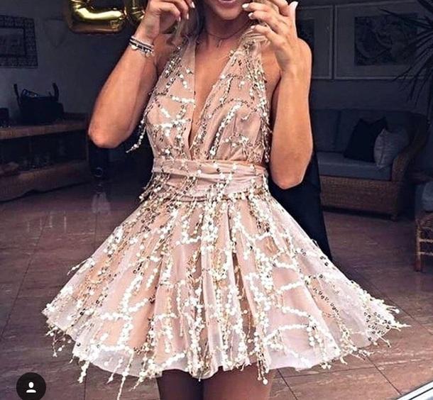 dress seguines seguined peach pink