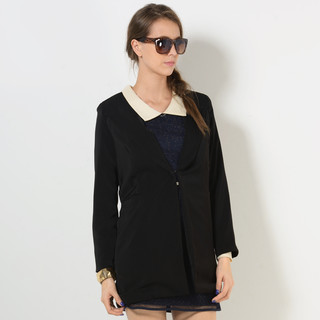 Padded-Shoulder Hidden-Hook Long Blazer - YesStyle Z | YESSTYLE