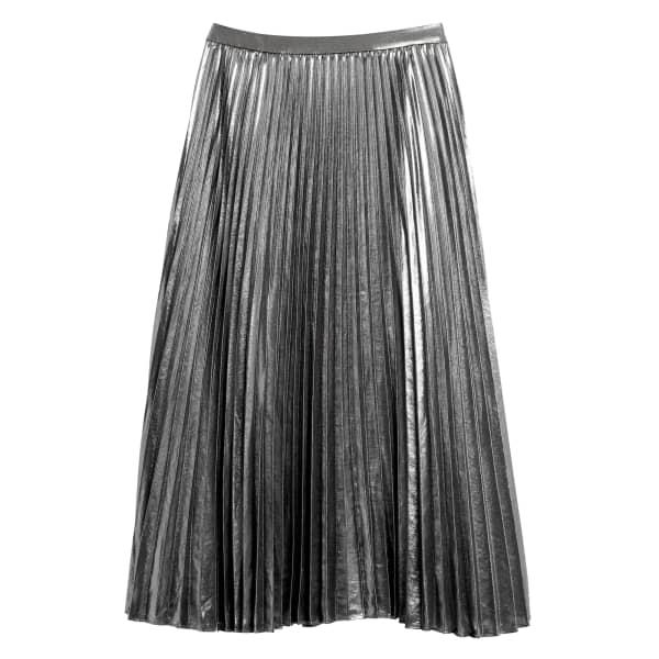 Banana Republic Women's Metallic Pleated Midi Skirt Gunmetal Silver Regular Size 12