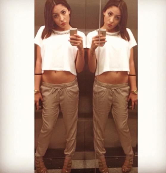 blouse pants white brown