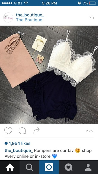 romper white black jumper crochet floral shorts crop