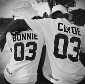 t-shirt,quote on it,graphic tee,white hat,bonnie and clyde,bonnie,casual t-shirts