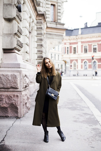 the next episode blogger long coat black bag winter coat military style