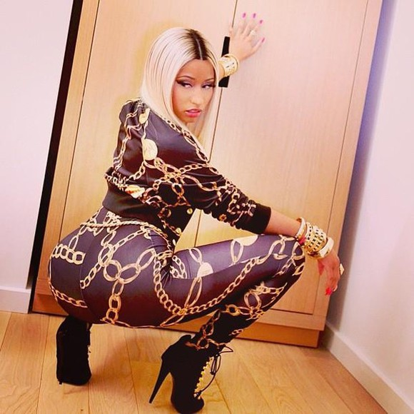 nicki minaj jacket jumpsuit chain cute sexy black gold bracelets pants high heels boots nail polish Versace thick
