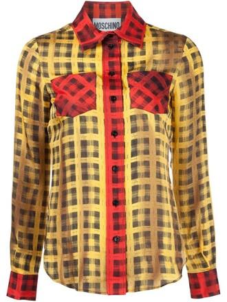 shirt plaid shirt plaid white top