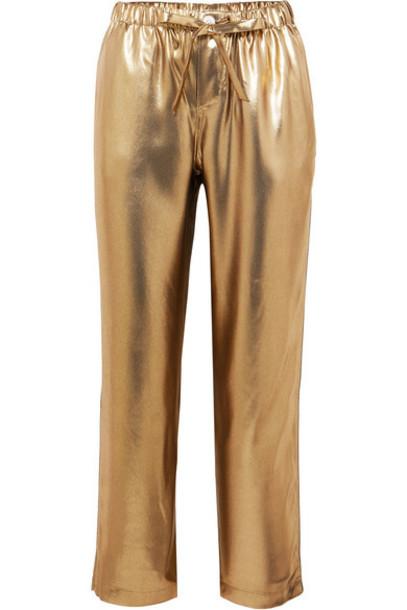 Sleepy Jones - Marina Lamé Pajama Pants - Gold