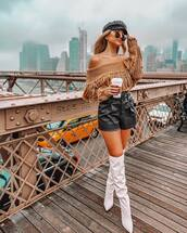 shorts,leather shorts,High waisted shorts,white boots,knee high boots,knitted sweater,off the shoulder sweater,sunglasses,cap