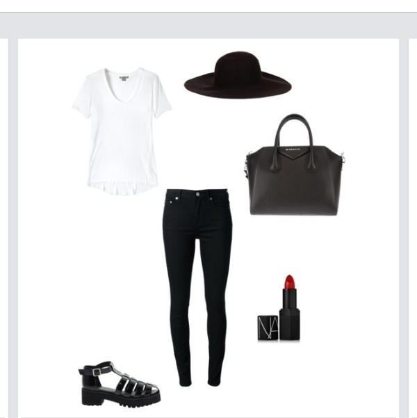 hat black t-shirt jeans lipstick shoes