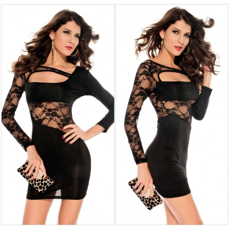 Black Long Sleeve Hollow Out Sexy Lace irregular Dress lml6009 - lol-malls - Trustful Online Shopping for Women Dresses