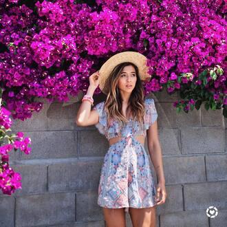romper hat tumblr cut-out sun hat printed romper summer outfits blue romper
