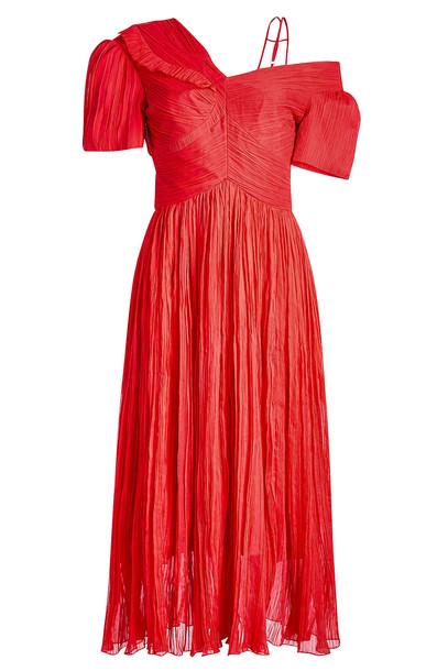 Preen by Thornton Bregazzi Cyra Silk Chiffon Dress  in red