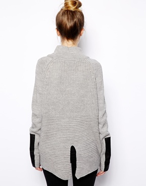 Vila   Vila Oversize Knit With Leather Look Detail at ASOS