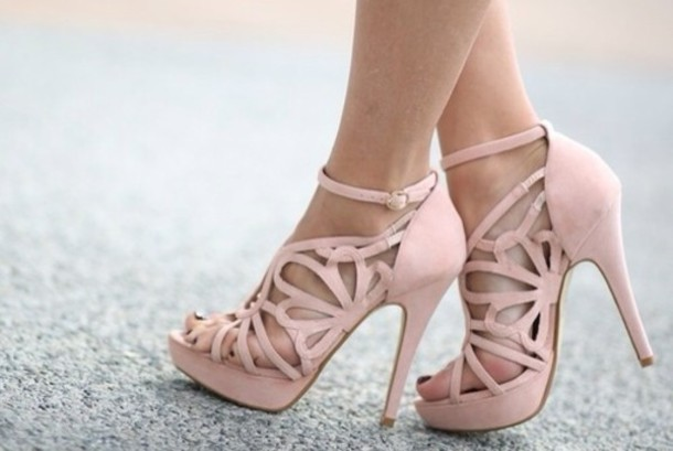 Shoes: nude high heels, pale pink heels, cut out ankle boots, cut ...