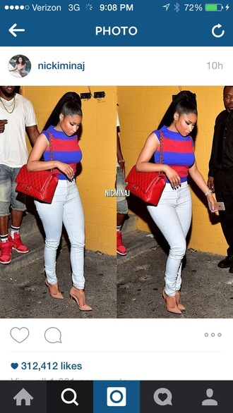 shirt nicki minaj queen of rap quee of rap slaying stripes white pants white red and blue
