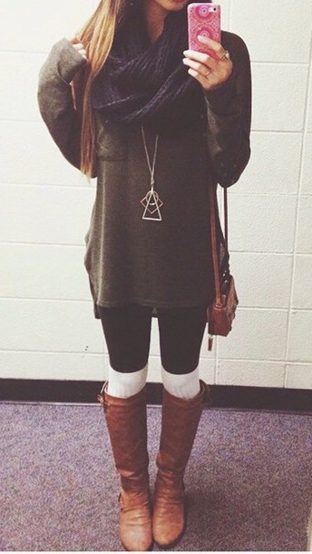shoes knee boots thigh highs sweater scarf jewels bag pants