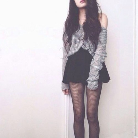 skirt tights wool grey mesh fish net cosy sweater underwear fashion blouse gray, plus size, grunge soft grunge cute big fashion vibe shirt cardigan