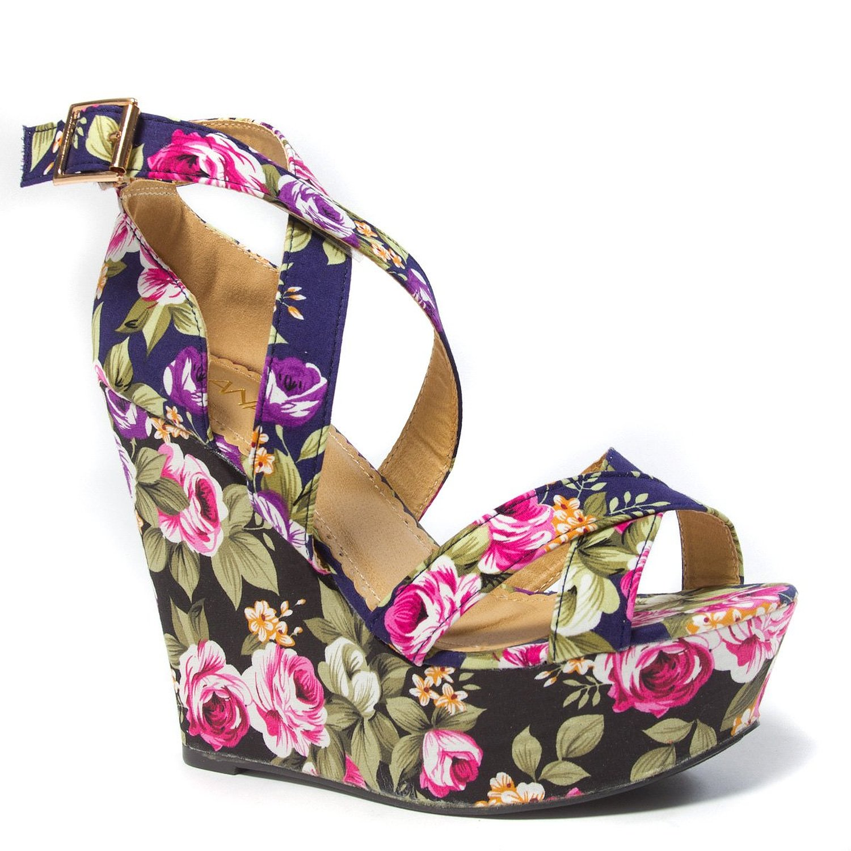 Amazon.com: anna womens mia9 open toe x criss cross strappy floral flower platform high heel wedge sandal shoe: shoes