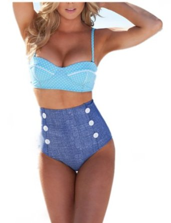 High waisted denim bikini retro vintage swimsuit