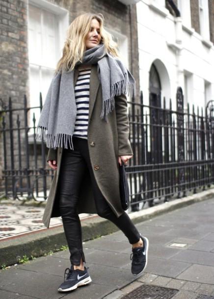coat shoes jeans t-shirt scarf