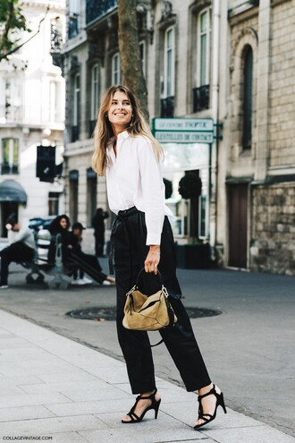 bag loewe bag khaki bag handbag pants black pants high waisted pants shirt white shirt streetstyle office outfits sandals sandal heels black sandals spring outfits