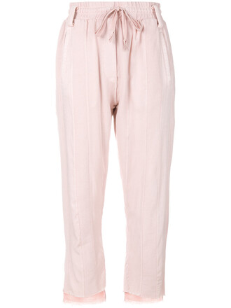 high waisted high women cotton purple pink pants