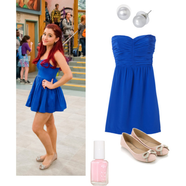 Dress Ariana Grande Cat Valentine Victorious Shoes Brunette Brown Haur Blue  Dress Strapless Skater Dress