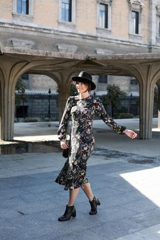 che cosa blogger printed dress long sleeve dress