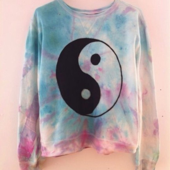 yin yang black black and white white sweater acid wash grunge pale grunge pale pale pink pale blue multi colored cute cute sweaters cute sweater tie dye