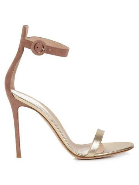sandals leather sandals leather suede gold pink shoes