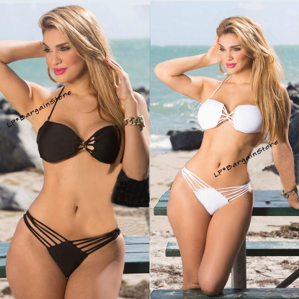SEXY Womens Bikini Set Bandeau Push Up Padded Swimsuit Bathing Swimwear Tassel