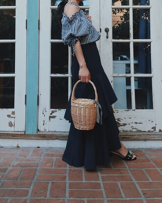top skirt black skirt tumblr gingham off the shoulder off the shoulder top maxi skirt ruffle bag basket bag shoes
