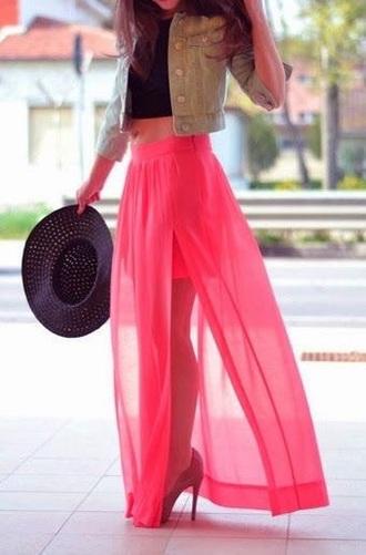 skirt neon pink high waisted skirt slit skirt maxi skirt