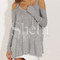 Grey long sleeve off the shoulder sweater -shein(sheinside)