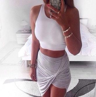 skirt wrap skirt grey skirt white crop tops asymmetrical skirt draped