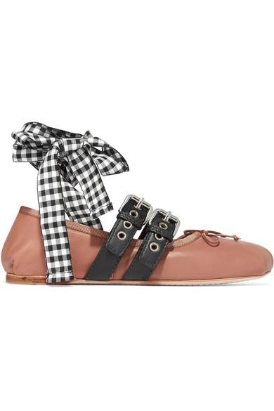 Miu Miu - Lace-up leather ballet flats
