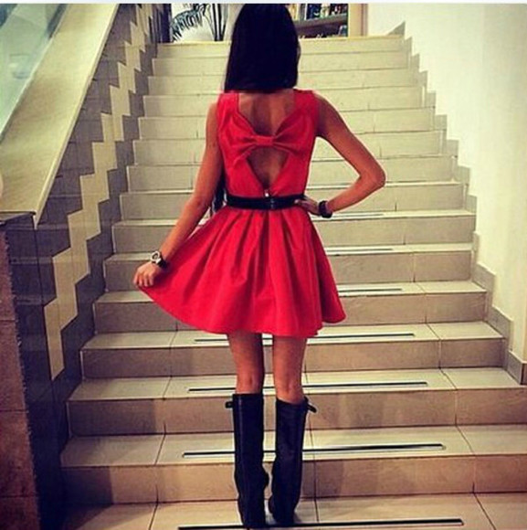 red dress backless dress bows dress with bow