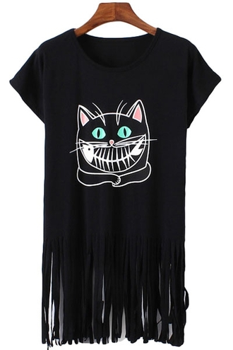 top t-shirt fringed top fringe t shirt black black top evil eye evil cat naughty cat cute cats i love cats kitties black kitten black cat black fringe top round neck zaful casual casual clothing print printed top cat print