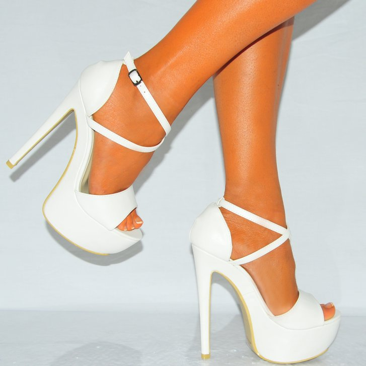 White Strappy Wedge Shoes